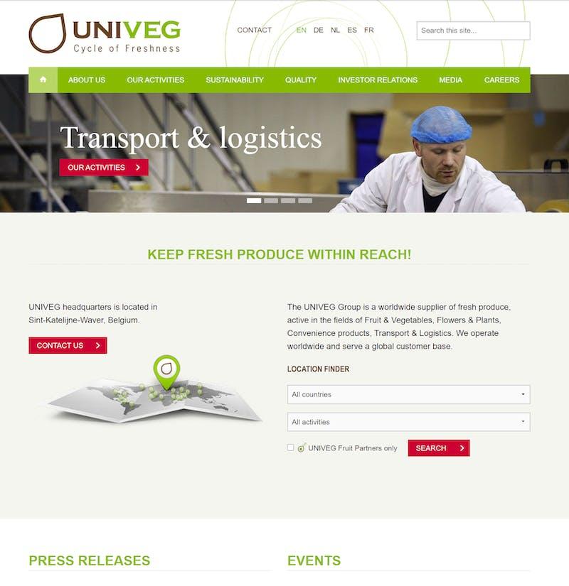 Univeg website screenshot G1