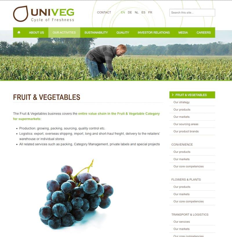 Univeg website screenshot G2