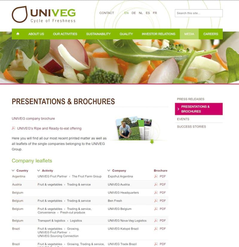 Univeg website screenshot G3