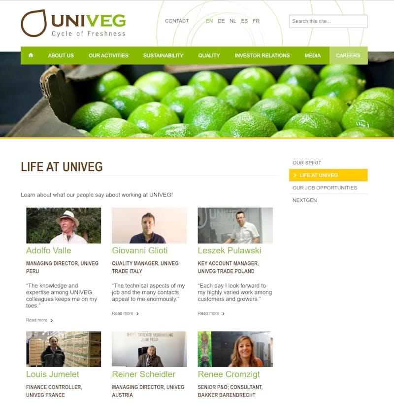 Univeg website screenshot G4