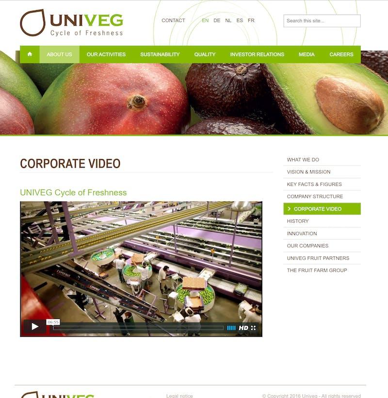 Univeg website screenshot G5