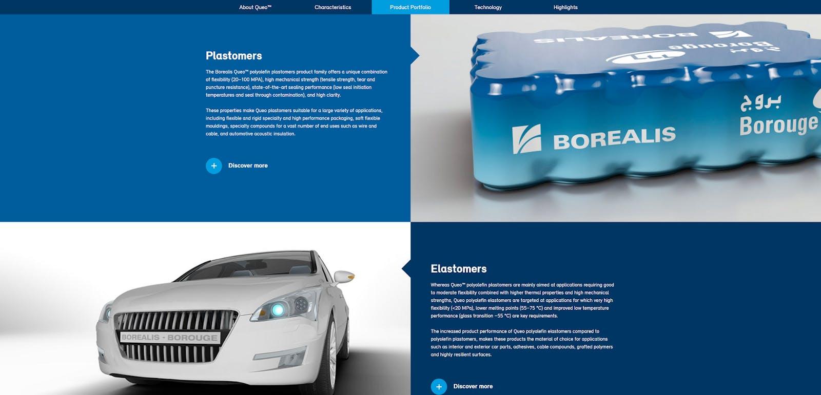 Borealis Queo webpage